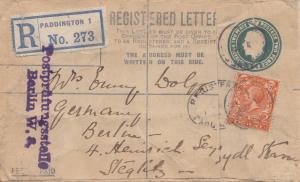 England: Ganzsache Einschreiben Paddington nach Berlin: Postprüfungsstelle