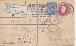 Irland: 1924: Ganzsache Registered Larne nach Oldenburg