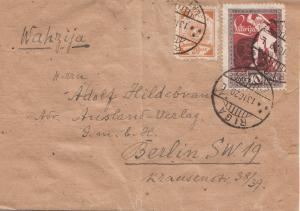 Lettland: 1920: Streifband von Riga nach Berlin