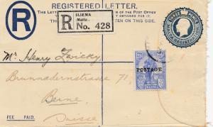 Malta: 1927: Einschreiben Sliema nach Bern