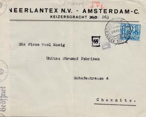 Niederlande: 1941 Amsterdam nach Chemnitz - OKW Zensur