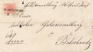 Österreich: 1855: Bogenecke auf Brief mit Textinhalt
