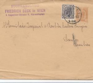 Österreich: 1905: Ganzsachenumschlag Buchhandlung Beck nach Santos/Brasilien