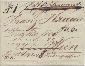 Österreich: 1838: Brief nach Wien