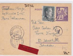 GG: Ganzsache Eilboten von Warschau nach Stockholm/Schweden