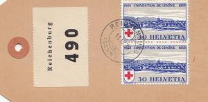 Schweiz: 1939: Paketanhänger Reichenburg nach St. Moritz