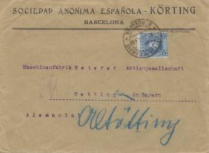 Spanien: 1910: Brief aus Barcelona nach Oetting
