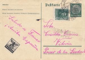 Spanien: 1938: DR Ganzsache nach Vitoria, Vignette, Zensur