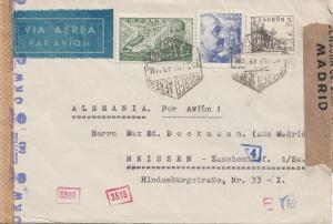 Spanien: 1943: Madrid als Luftpost nach Meissen, OKW Zensur