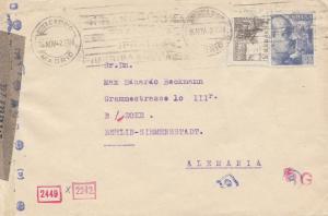 Spanien: 1942: Brief von Madrid nach Berlin, Zensur