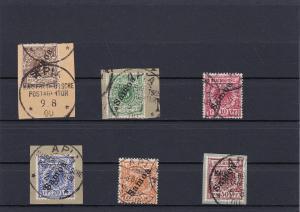 Samoa: MiNr. 1-6, gestempelt, teils Briefstücke