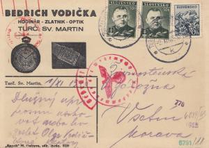 Slowakei: 1940: Postkarte Turc Sv. Martin mit OKW Zensur, Uhren