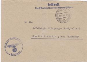 B&M: Feldpost Thersienstadt an NSDAP Ortsgruppe Schwenningen, Reiter Korps