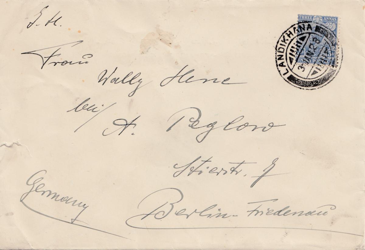 Afghanistan: 1928 Brief von Landikhana/Kabul nach Berlin, Three Annanas, India 0