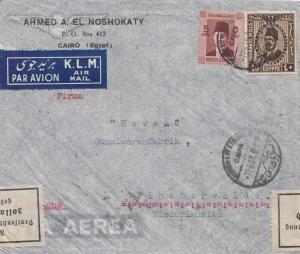 Ägypten/Egypte: 1938: Luftpost Brief Cairo nach Finsterwalde, Gummifabrik, Zoll