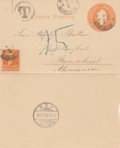 Argentinien: 1896: Ganzsache nach Remscheid, Taxe