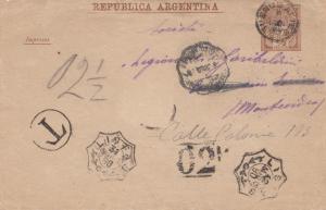 Argentinien: 1890: Brief / Ganzsache nach Montevideo mit Taxe
