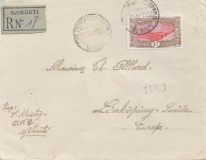 Äthiopien:Einschreiben Djibouti 1922 nach Linköping