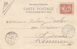 Äthiopien: 1903: Ansichtskarte Au Cafe de la Paix nach St. Denis, Reunion