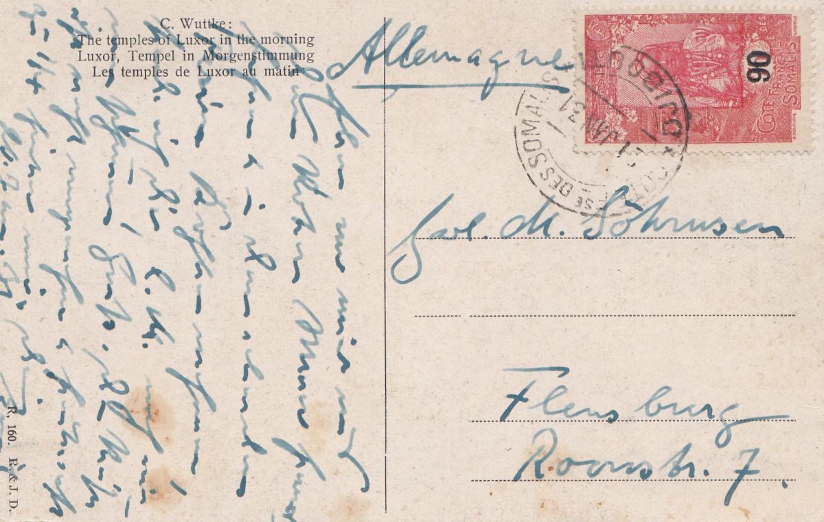 Äthiopien: 1931: Ansichtskarte Luxor in Morgenstimmung nach Flensburg 0