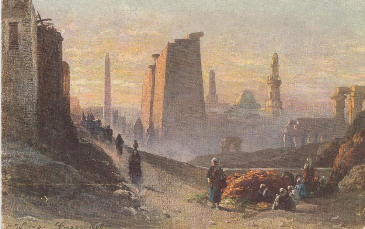 Äthiopien: 1931: Ansichtskarte Luxor in Morgenstimmung nach Flensburg 1