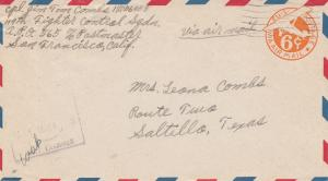 USA:Air Mail Fighter /San Francisco/USA to Saltillo/Texas NL-Neuguinea, Examiner