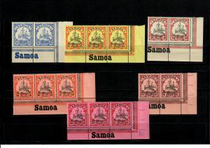 Deutsche Kolonien: Samoa 6x mit Inschrift Eckrand