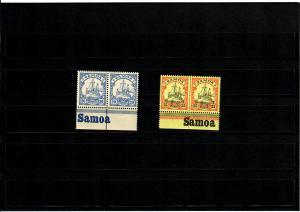 Deutsche Kolonien: Samoa 2x mit Inschrift Unterrand, **