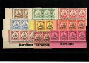 Deutsche Kolonien: Karolinen, 9x mit Inschrift im Unterrand/Eckrand