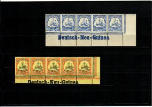 Deutsche Kolonien: Deutsch-Neu-Guinea, 2x Inschrift, 5er Streifen, Eckrand