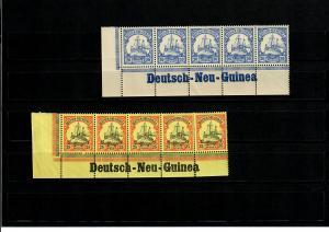 Deutsch-Neu-Guinea, 2x Eckrand mit Inschrift, 5er Streifen