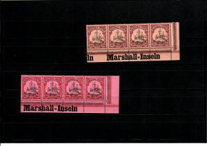 2x Marschall-Inseln, Eckrand mit Inschrift, 4er Streifen