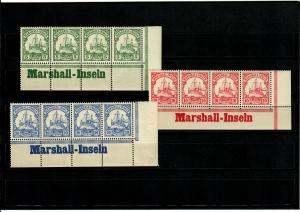 Deutsche Kolonien: 3x Marschall-Inseln, 4er Streifen, Eckrand mit Inschrift