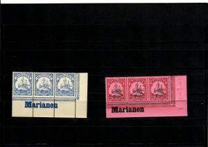 Deutsche Kolonien: 2x Marianen, Eckrand mit Inschrift