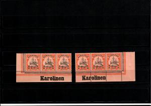 Deutsche Kolonien: 2x Karolinen, Eckrand mit Inschrift