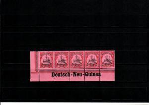 Deutsche Kolonien: Deutsch-Neu-Guinea, Eckrand mit Inschrift, 5er Streifen