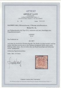 Sachsen: MiNr. 1b, Typ II/11, gestempelt Leipzig, BPP Attest