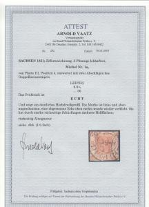 Sachsen: MiNr. 1a, Platte III, Position 4, gestempelt Leipzig, BPP Attest