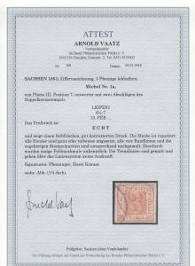 Sachsen: MiNr. 1a, Platte III, Position 7, gestempelt Leipzig, BPP Attest