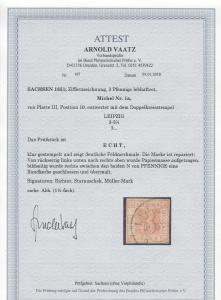 Sachsen: MiNr. 1a, Platte III, Position 10, gestempelt Leipzig, BPP Attest