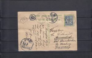 China 1908:Ganzsache card square dragon, Shangh-Hai - Germany, Gunboat SMS Iltis