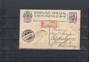 Russland: 1913: Romanov Dynasty - 2x Einschreiben Riga auf Karte nach Reutlingen
