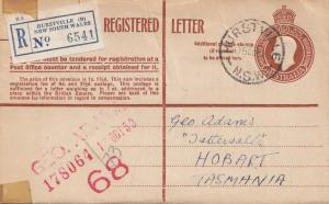 Australia 1953: Registered letter Hurstville to Tasmania