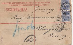 Australia 1893: Registerd letter to Germany/Klingenthal