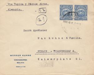 Bolivia/Bolivien: 1927 Cochabamba via Buenos Aires to Berlin/Germany