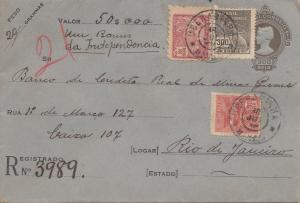 Brazil: 1921: Value letter to Rio de Janeiro