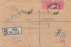 Bahamas: 1928 registered letter from Nassau to Manchester