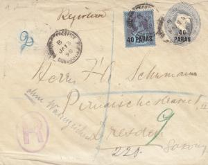 Levante: letter - registered 1898 to Dresden - no Watermark