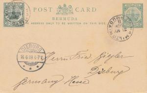 Bermuda: post card 1909 Hamilton to Dieburg
