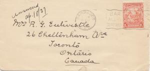 Barbados: 1937: letter to Ontario/Canada